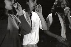 "Dartington students with shell trumpets rehearse ""Marine Residua"", 1986"
