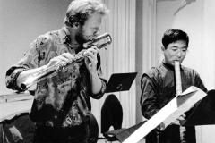 "Jos Zwaanenburg and Yoshikazu Iwamoto rehearsing ""Tyrants"", 1991"